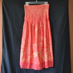 Lapis red strapless dress w/gold detailing